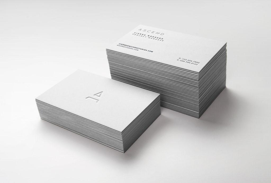 Ascend letterpress business card mockup